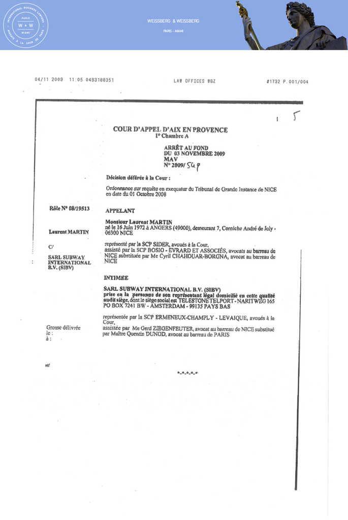 Arrêt et commentaire de la Cour d'appel d'Aix en Provence en matière d'exequatur du 3 novembre 2009 (3)