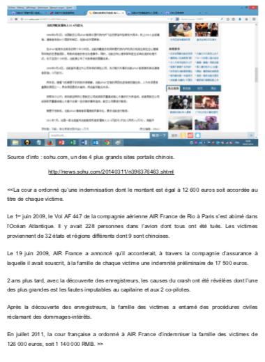Crash Air France indemnisation chinois (2)
