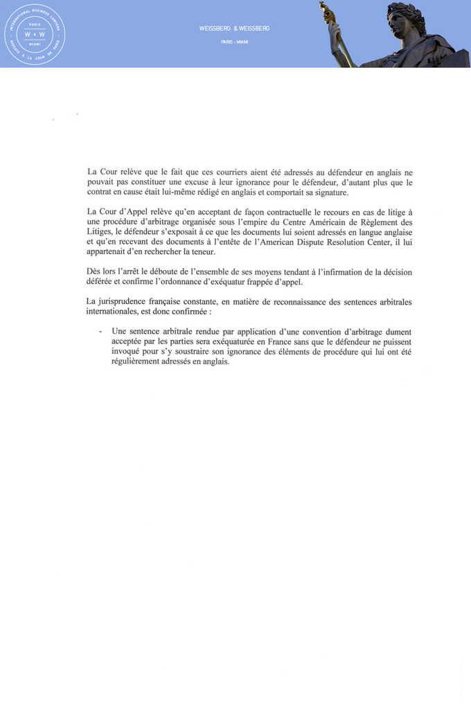 Arrêt et commentaire de la Cour d'appel d'Aix en Provence en matière d'exequatur du 3 novembre 2009 (2)