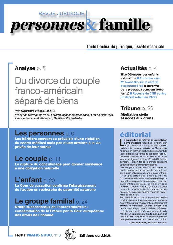 Du divorce du couple franco-américain séparé de biens (1)