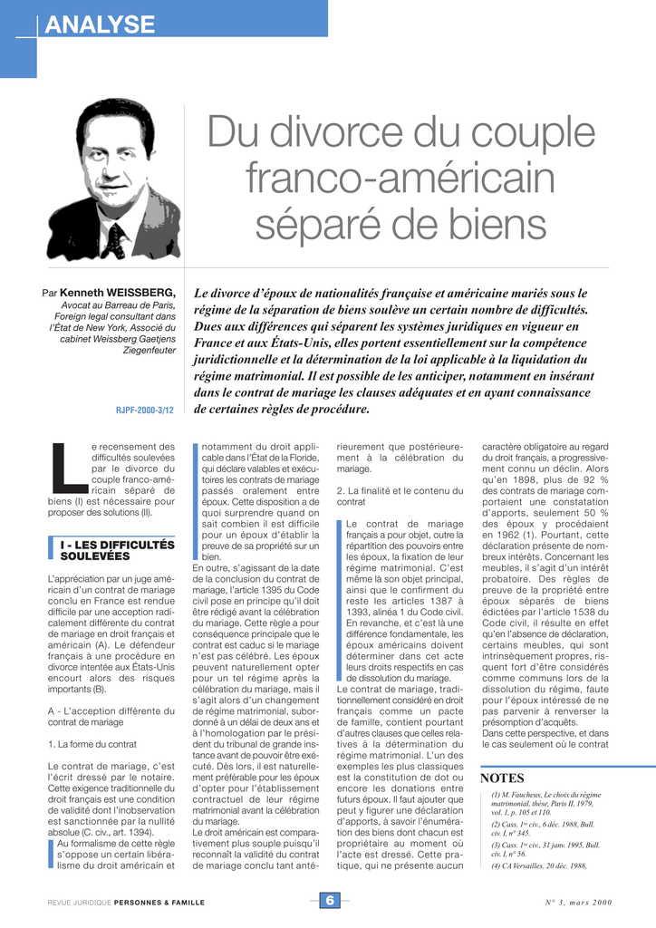 Du divorce du couple franco-américain séparé de biens (2)