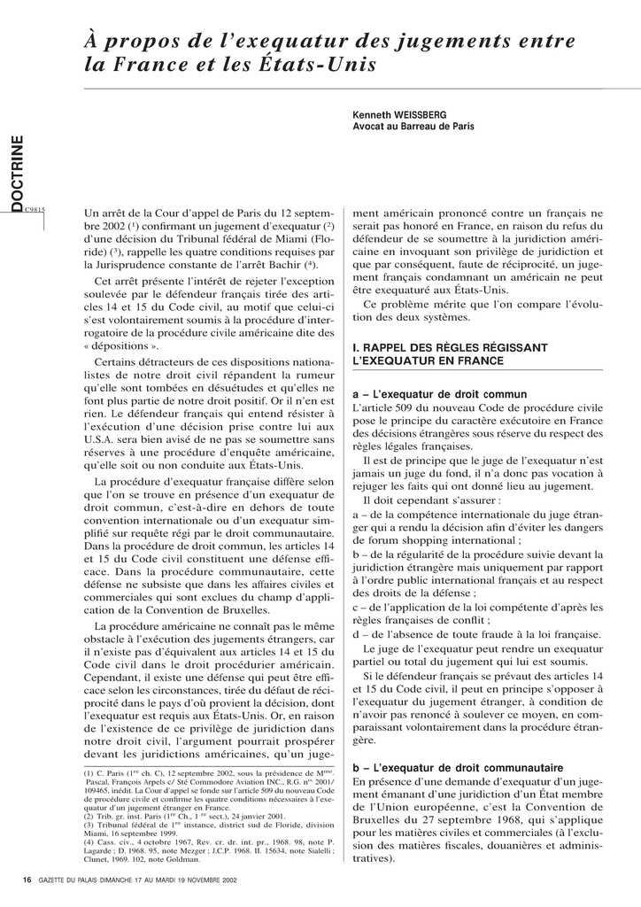 A propos de l'exequatur des jugements entre la France et les Etats-Unis (1)