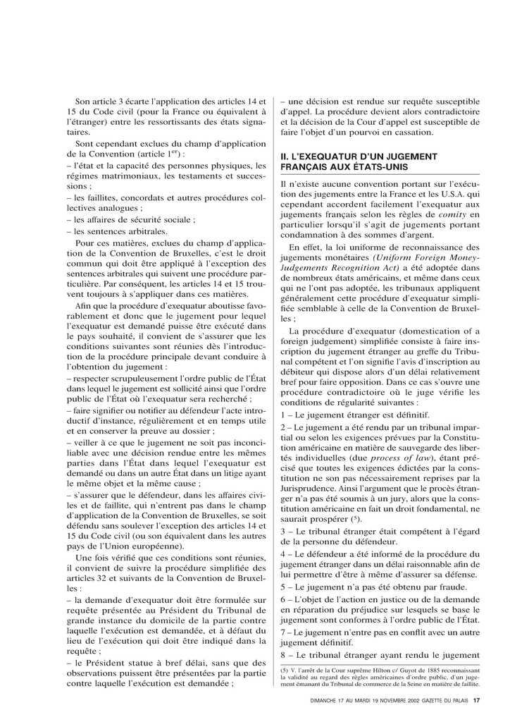 A propos de l'exequatur des jugements entre la France et les Etats-Unis (2)