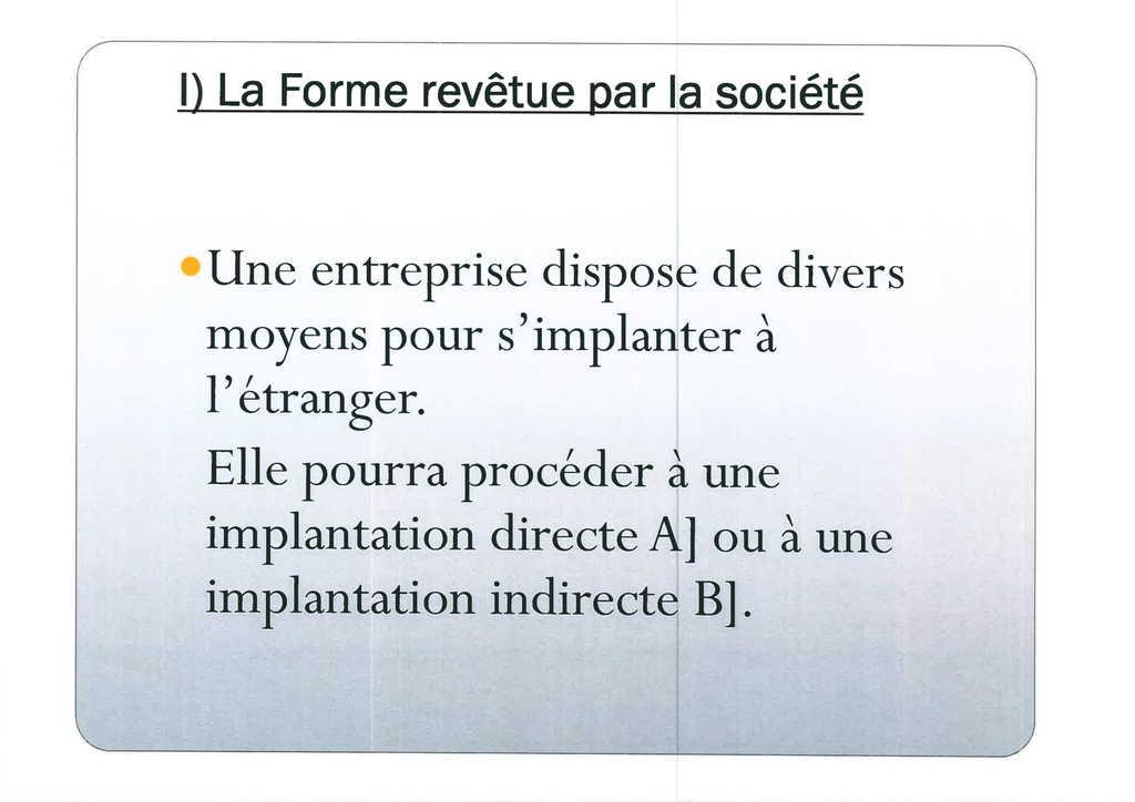 Aspects juridiques de l'implantation d'entreprises françaises à l'étranger : l'exemple des Etats-Unis (5)