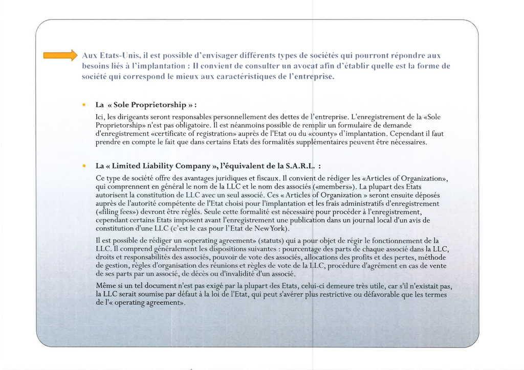 Aspects juridiques de l'implantation d'entreprises françaises à l'étranger : l'exemple des Etats-Unis (10)