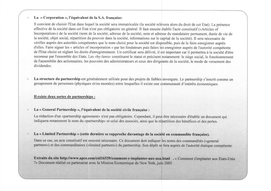 Aspects juridiques de l'implantation d'entreprises françaises à l'étranger : l'exemple des Etats-Unis (11)