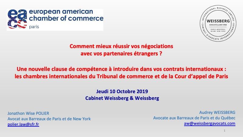 Conférence sur les chambres internationales du Tribunal de commerce et de la Cour d'appel de Paris